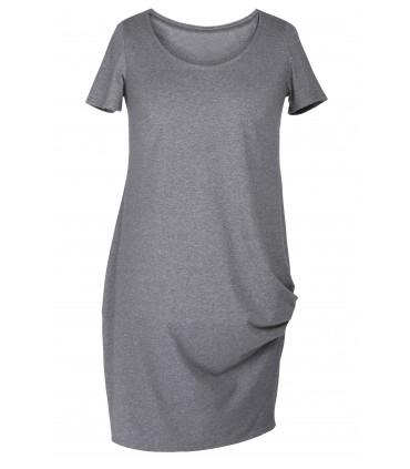 SZARA sukienka z marszczeniami na boku - CLARA krótki rękaw