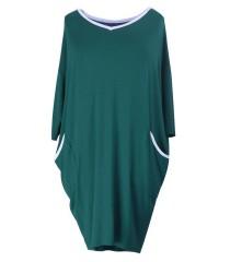 Sukienka z szarą lamówką LILIAN - butelkowa zieleń