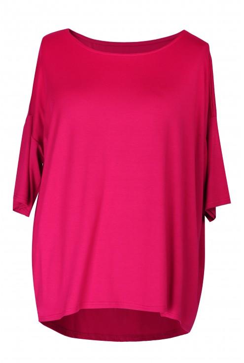 Różowa bluzka MARINA BASIC krótki rękaw - zabudowane plecy