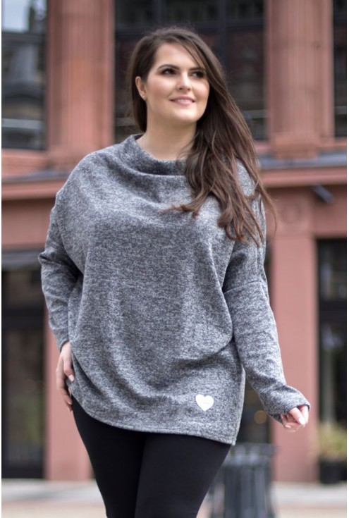 Luźny jasnoszary sweterek z serduszkiem - CLARISSA