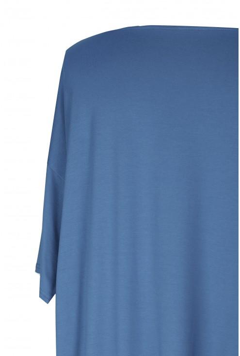 Bluzka MARINA BASIC krótki rękaw (kolor jeansowy) - zabudowane plecy