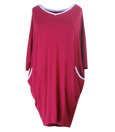 Bordowa sukienka z lamówką LILIAN
