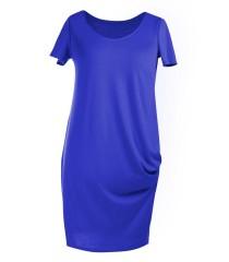 CHABROWA sukienka z marszczeniami na boku - CLARA krótki rękaw
