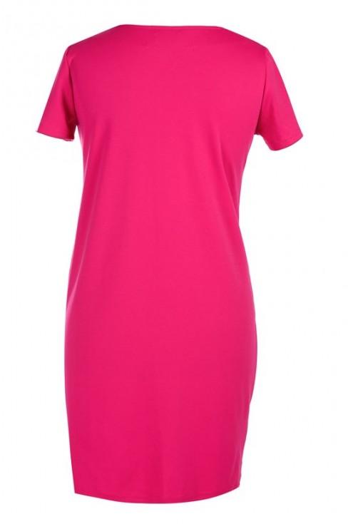 RÓŻOWA sukienka z marszczeniami na boku - CLARA krótki rękaw