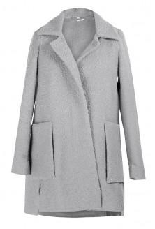 Jasno-szary płaszcz z dużymi kieszeniami ESTELLA