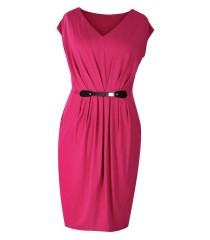 Malinowa sukienka dzianinowa LUNA | DUŻE ROZMIARY