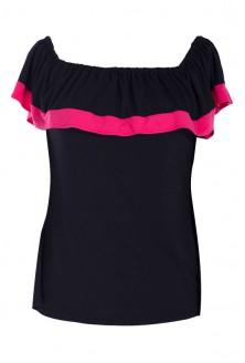 Bluzka hiszpanka z różowym obszyciem - LEILA