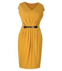 Miodowa sukienka dzianinowa LUNA | DUŻE ROZMIARY