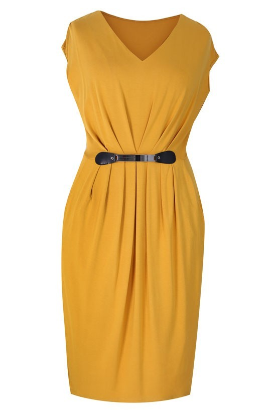 ccfa4d6cb3 Miodowa sukienka dzianinowa LUNA