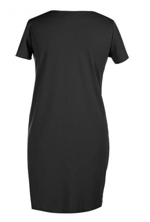 CZARNA sukienka z marszczeniami na boku - CLARA krótki rękaw