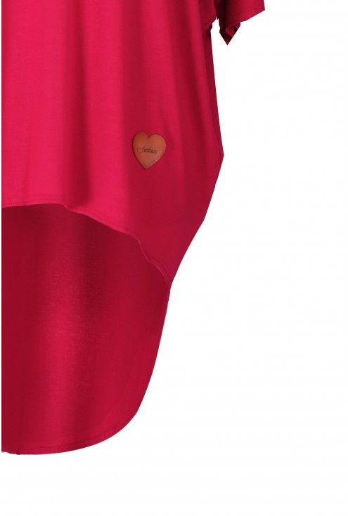 Malinowa bluzka z dłuższym tyłem NIKI