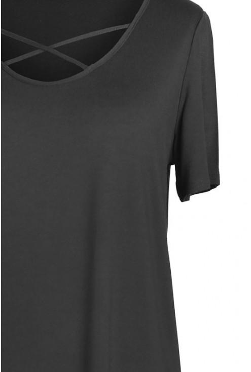 CZARNA bluzka z krzyżykiem w dekolcie NICOLA
