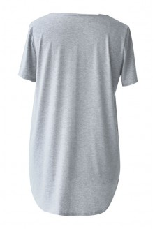 SZARA (melanż) bluzka z krzyżykiem w dekolcie NICOLA