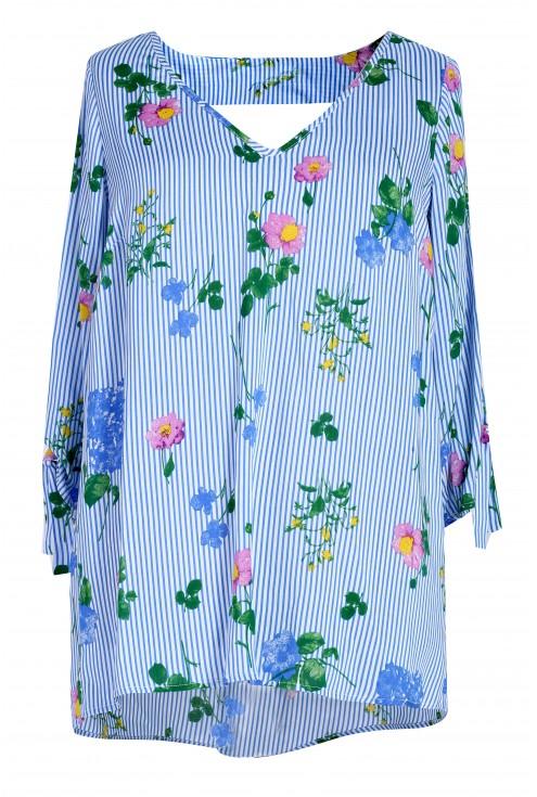 Biało niebieska bluzka w kwiatki FLORENCE