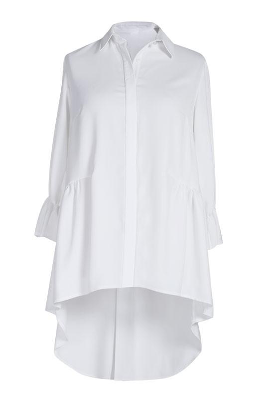 Kremowo biała długa koszula damska ANNABEL rękaw 34  AnOZG