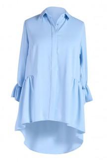 Jasno niebieska koszula damska plus size ANNABEL - rękaw 3/4