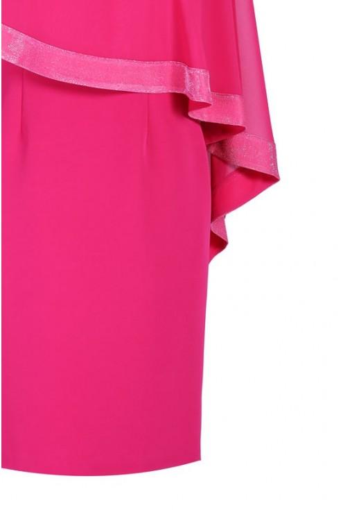Różowa sukienka z szyfonową narzutką ABIGAIL