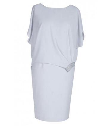 Jasnoszara sukienka z narzutką DAPHNE