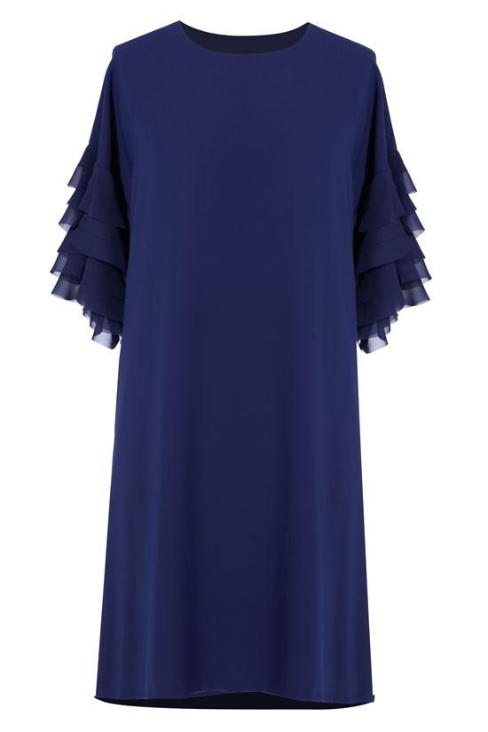 7a11b578 Granatowa sukienka z falbankami na rękawach KATE - XL-ka