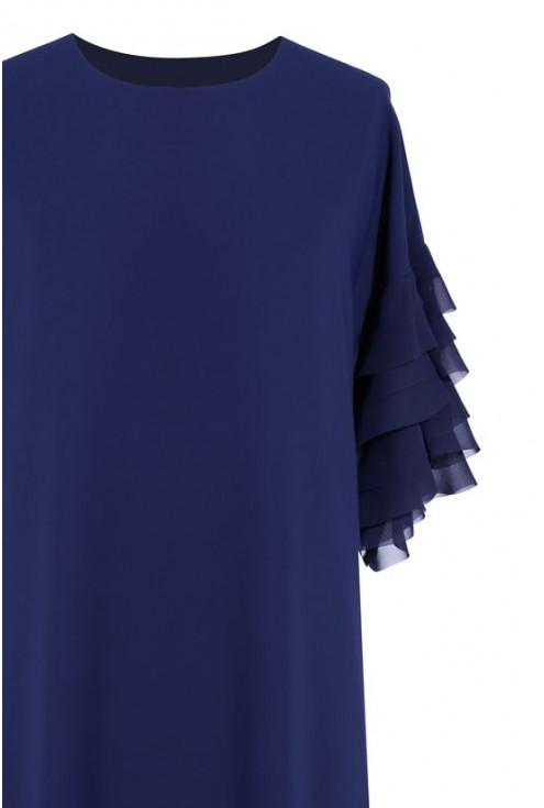 Granatowa sukienka z falbankami na rękawach KATE