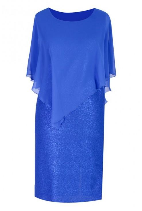 Kobaltowa sukienka z połyskiem i szyfonową narzutką ELSA