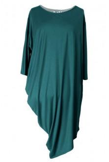 Tunika / sukienka asymetryczna PAULINA 2 - kolor butelkowa zieleń