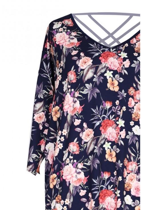 Sukienka w kwiaty z paseczkami na plecach ESTHER