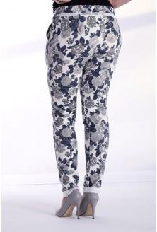 Szaro-granatowe spodnie dresowe w drobne kwiatki CAMILLA