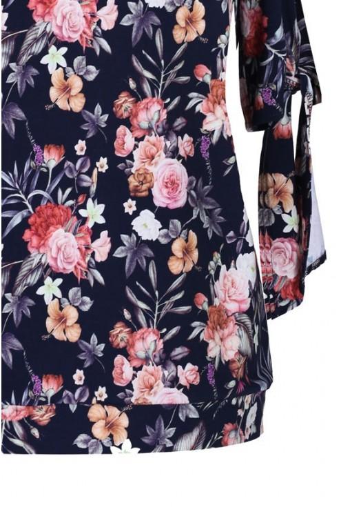 Bluzka w kwiaty z wiązanymi rękawami DOMINICA