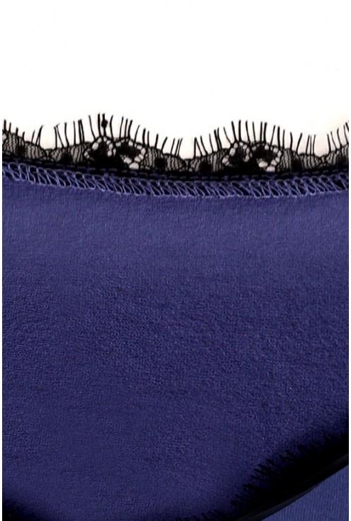 Bluzka z koronką przy dekolcie MIA - kolor jeansowy
