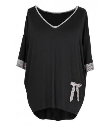 Czarna bluzka z dodatkiem kratki KIMBERLY