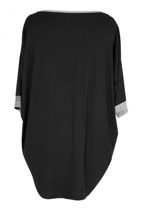 Czarna bluzka z dodatkiem kratki LINA