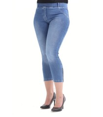 Jasne spodnie jeansowe na gumkę JUSTINE II - długość 3/4