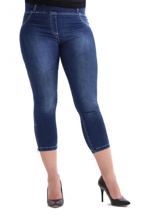 Ciemne spodnie jeansowe na gumkę JUSTINE II - długość 3/4