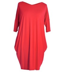 Czerwona tunika / sukienka z krzyżykiem na plecach GLORIA