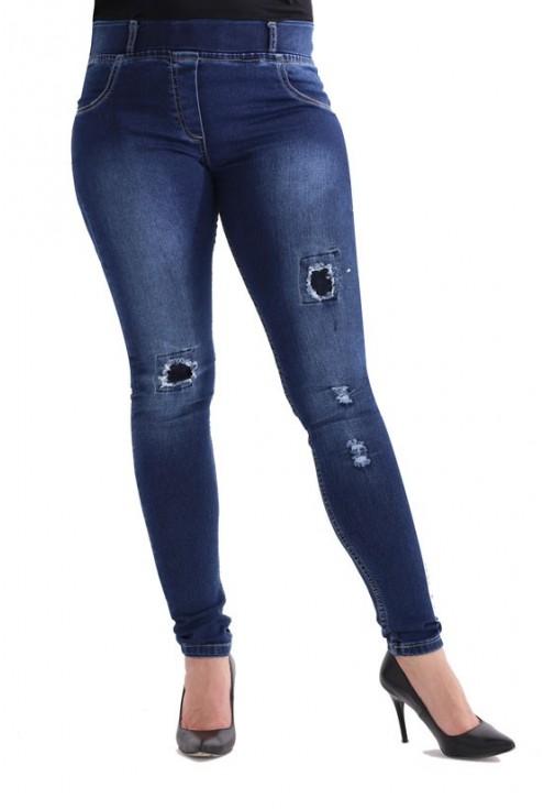 Ciemne spodnie jeansowe z dziurami LYDIA