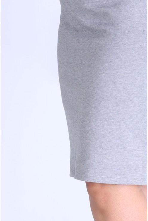 Jasnoszara dzianinowa spódniczka z czarnym lampasem - IGA