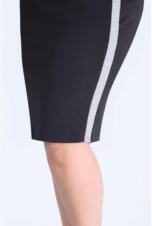 Czarna dzianinowa spódniczka z szarym lampasem - IGA