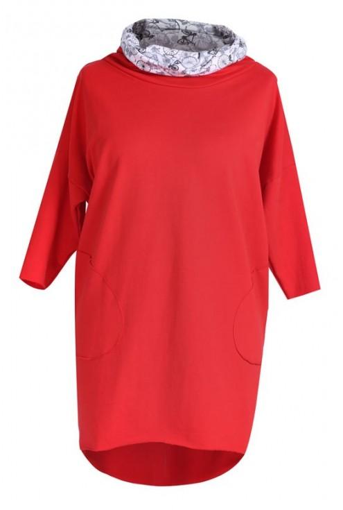 Długa bluza z kapturem (wzór rowery) LILY - kolor czerwony