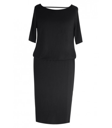 Czarna sukienka z marszczeniem woda na plecach LETITIA