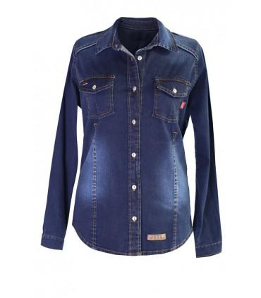 Ciemna koszula jeansowa na guziki JUDYTA