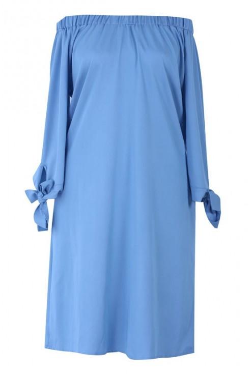Błękitna sukienka hiszpanka z kieszeniami - Sofía