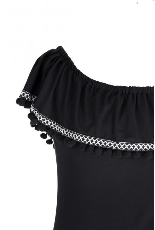 Czarna bluzka hiszpanka z pomponami - LEILA