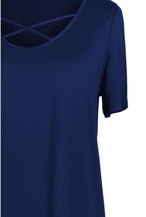 GRANATOWA bluzka z krzyżykiem w dekolcie NICOLA