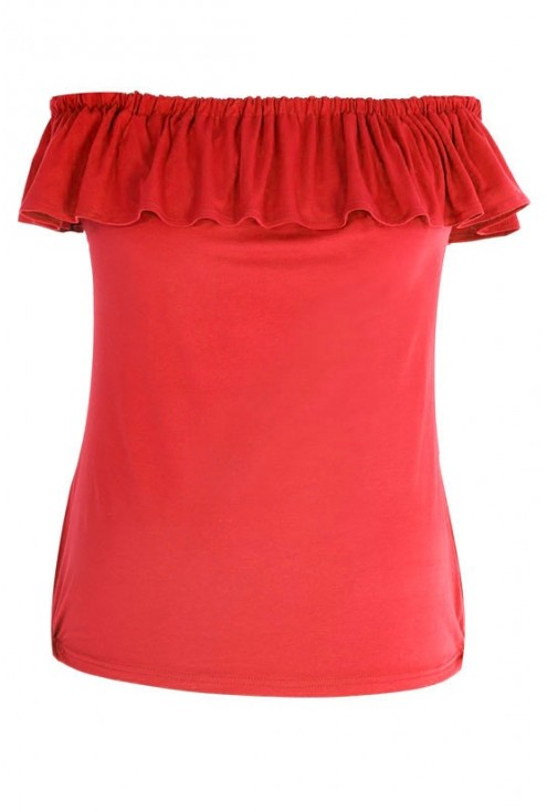 CZERWONA dzianinowa bluzka hiszpanka- LEILA