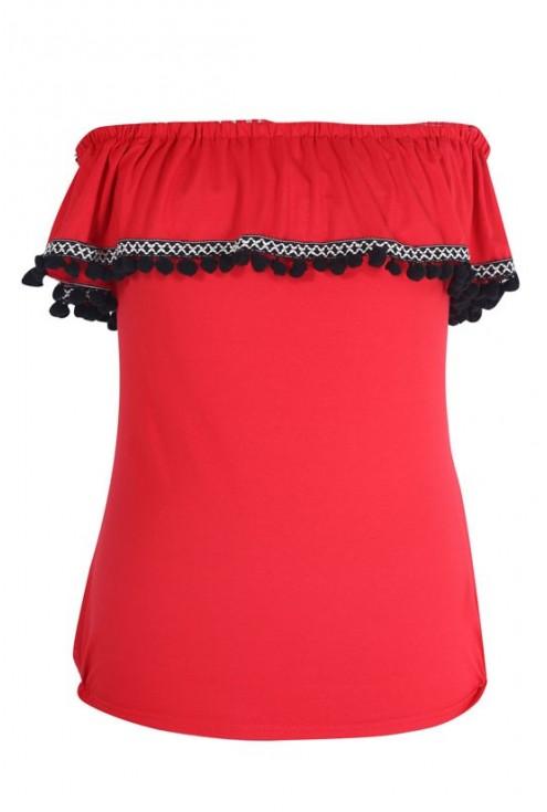 Czerwona bluzka hiszpanka z pomponami - LEILA