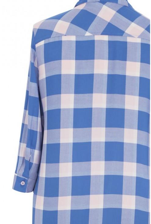 Długa koszula-tunika w pudrowo-niebieską kratę - SHEILA