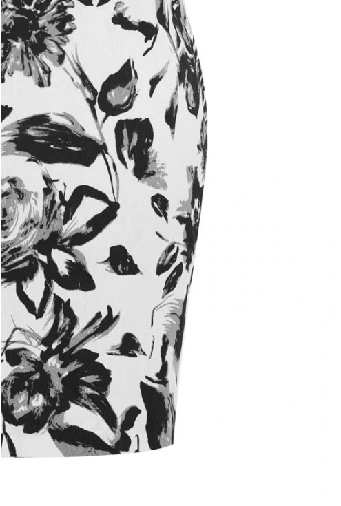 Biała sukienka w czarne kwiatki - GENE