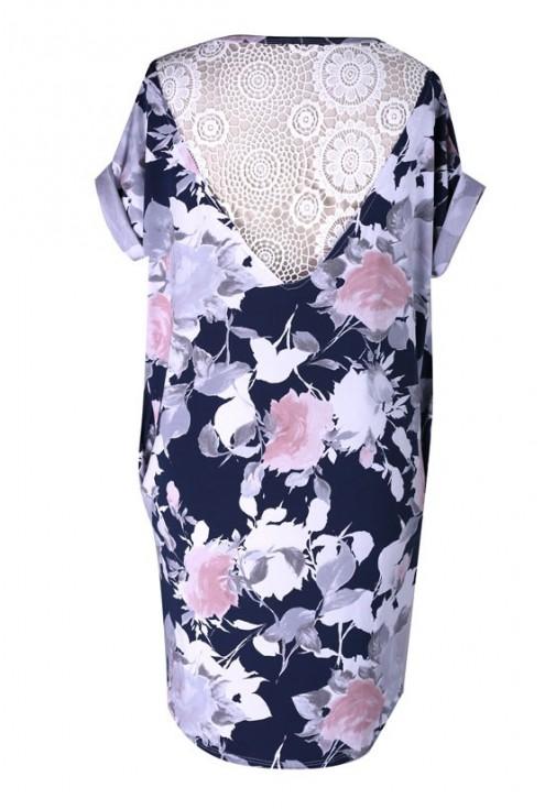 Sukienka w kwiatki z koronką SANDY - kolor granatowy