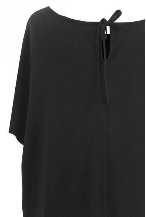 Czarna gładka tunika z krótkim rękawem LETTI
